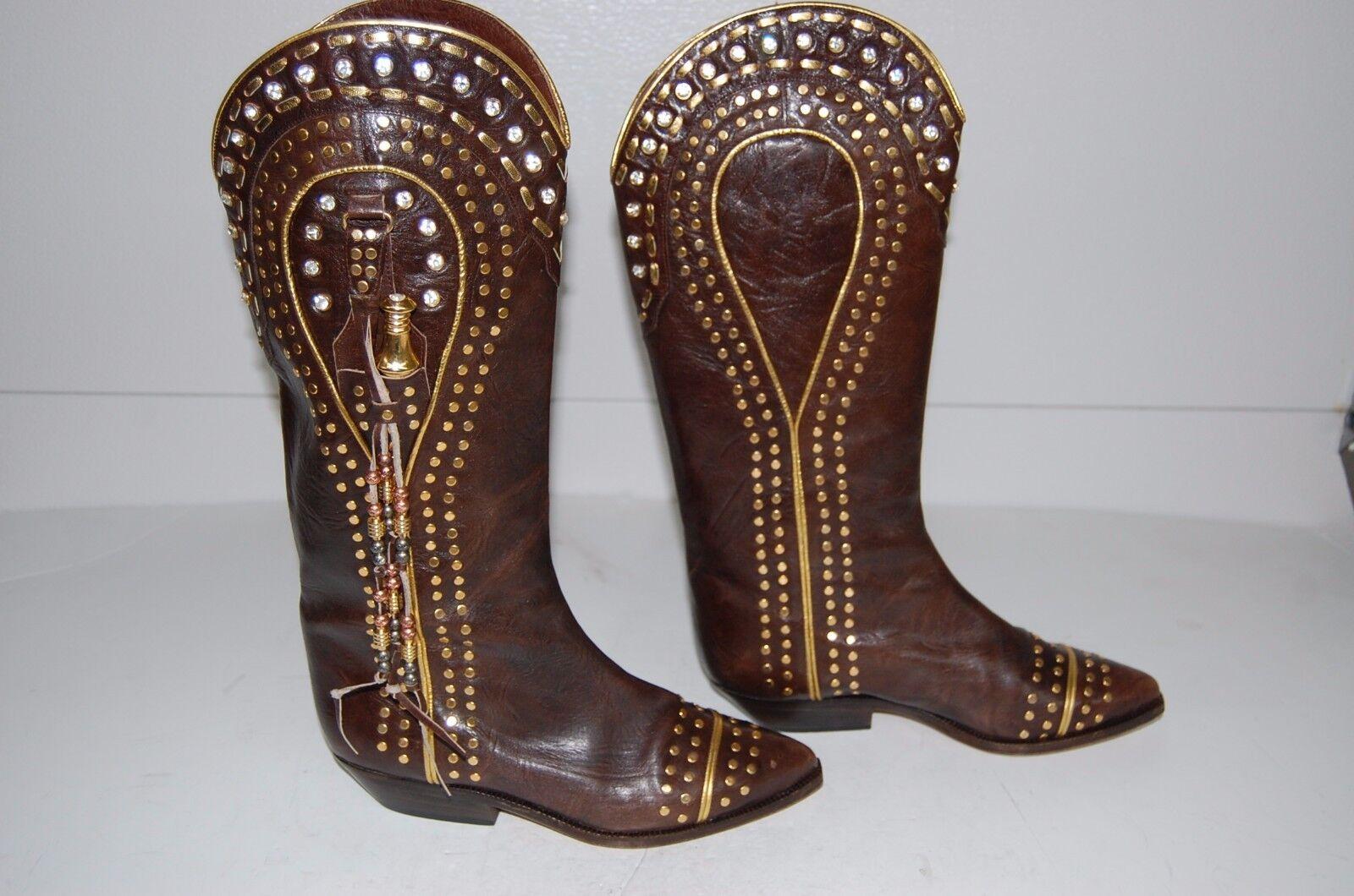 El Vaquero Marronee Leather stivali  oro Studied  a buon mercato