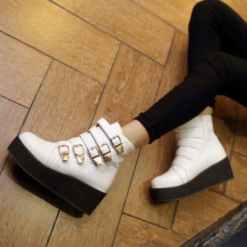 Fashion Womens Goth Platform Wedge Belt Buckle Pull On Punk Creepers Ankle Boots