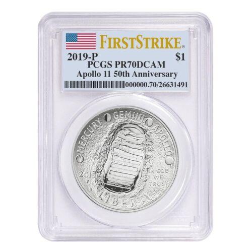 2019 P Apollo 11 50th Anniversary Proof Silver Dollar Comm PCGS PF 70 FS