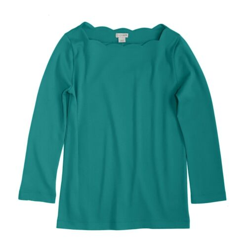 by J.Crew Women/'s XS NWT$45 Emerald Green 3//4 Sleeve Scallop Boat Neck Tee J