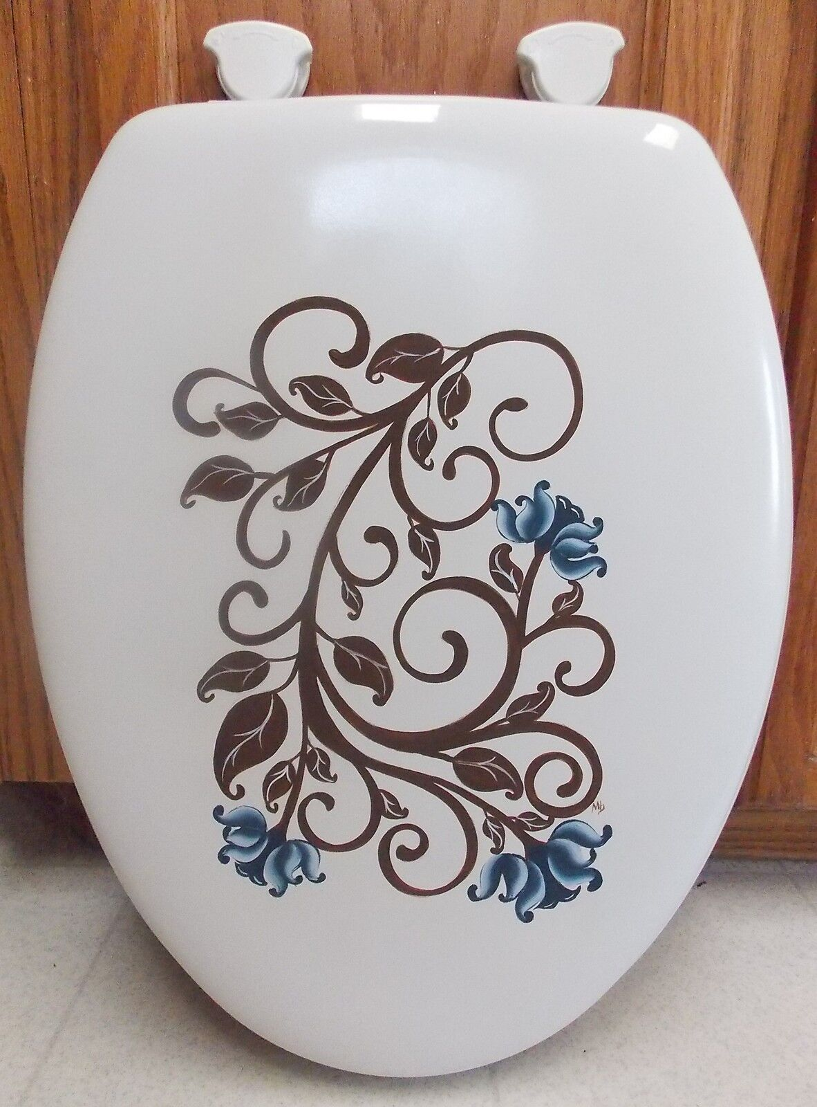 HAND PAINTED ELONGATED TOILET SEAT TOLE PAINTED FLOWERS CHOOSE Farbe DOUBLE SIDE