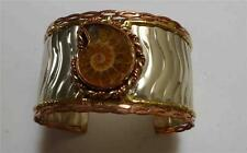 Very Cool! Ammonite Fossil, Copper Brass & German Silver CUFF BRACELET