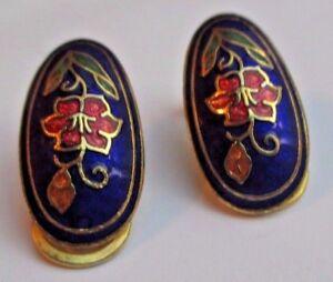 Boucles D'oreilles Clips Bijou Vintage Fleur émail Cloisonné Couleur * 2735