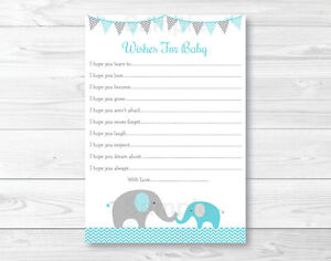Image Is Loading Teal Chevron Elephant Printable Baby Shower Wishes For