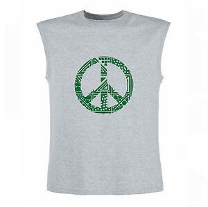 Art-T-shirt-Magletta-Senza-Maniche-Peace-Uomo-Man-Grigio