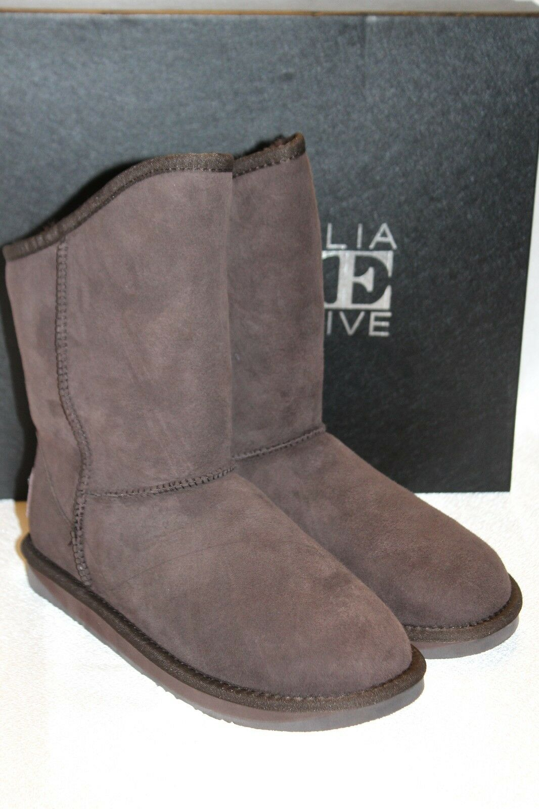 AUSTRALIA LUXE Collective Beva Brown Suede Shearling COSY SHORT  Boots Sz 8 170