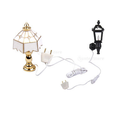 2pcs 1:12 Scale Dollhouse Miniature Vintage Living Room Garden Park Lamps