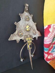 Antique Berber Enameled Silver Fibula Knife Necklace …a beautiful & unique colle