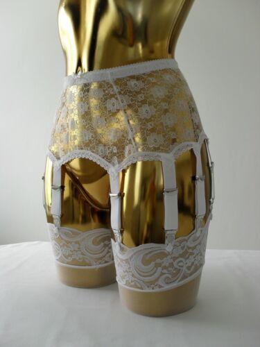 Size Medium-XL White Lace 14 White Strap Designer Burlesque Retro Suspender Belt
