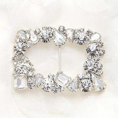 Vintage Style Motif Rhinestone Crystal Wedding Ribbon Slider Sash Belt Buckle