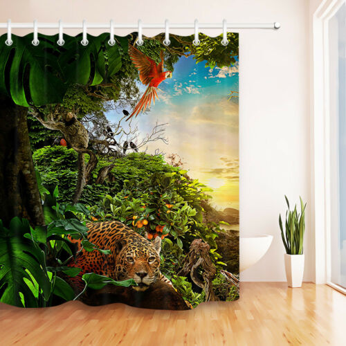 72x72/'/' Fairy Forest Animals Shower Curtain Bathroom Waterproof /& 12 Hooks