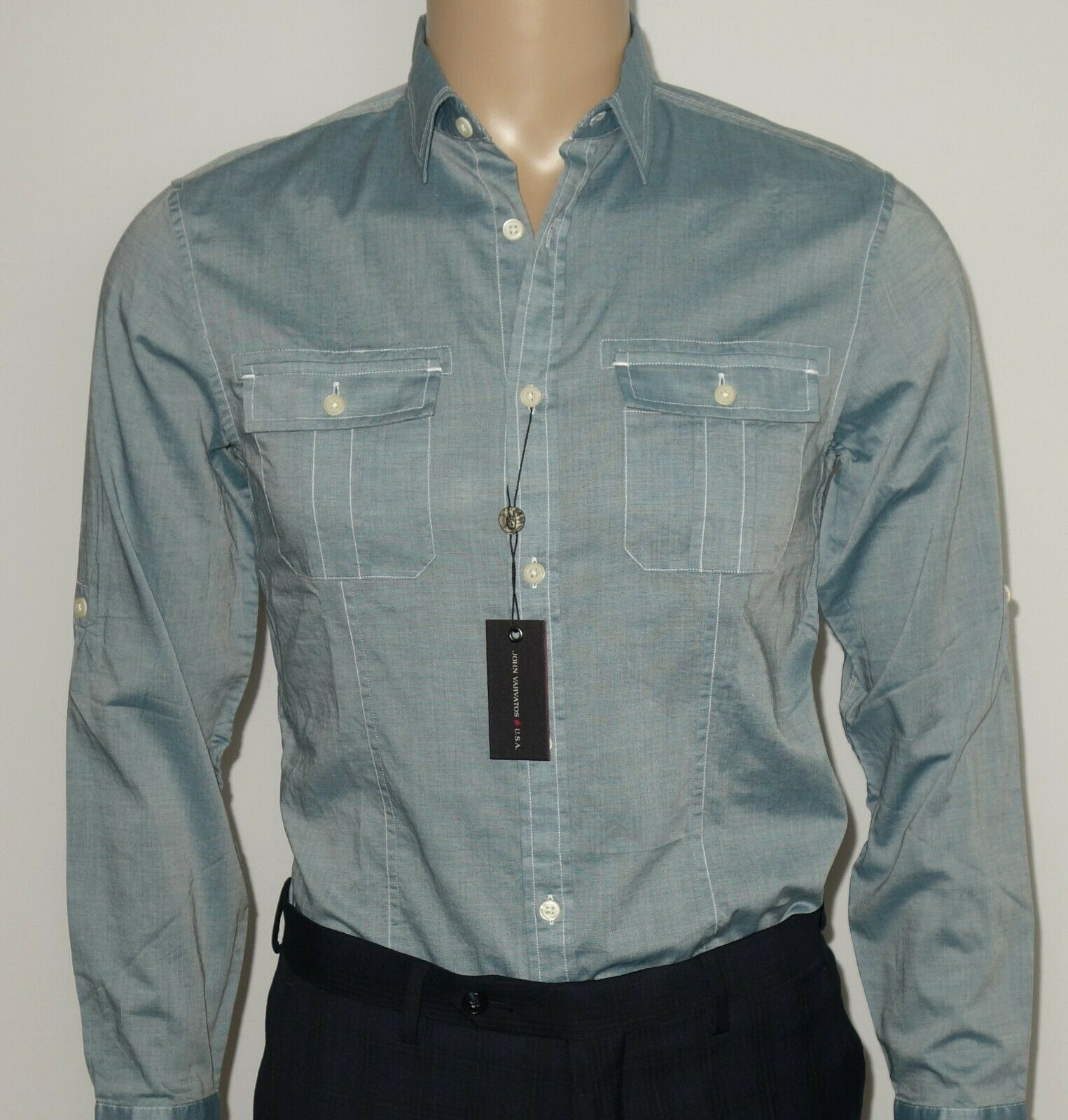 NEW John Varvatos Roll Tab Shirt in Light bluee Size X-SMALL 31 32
