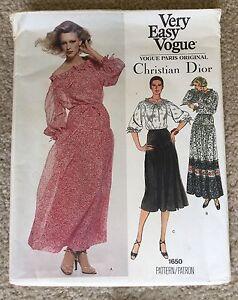 Vintage 1970's Vogue Paris Original Christian Dior Dress Sewing Pattern #1650