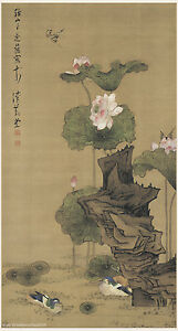 Details about Chinese scroll painting Mandarian ducks on lotus pond by Chen  HongShou in Ming