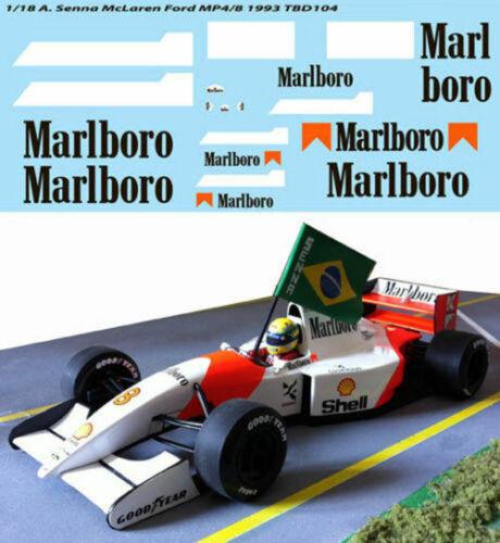 1//18 FOR McLAREN FORD MP4//8 AYRTON SENNA 1993 F1 DECALS TB DECAL TBD104