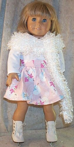 "Doll Clothes Made 2 Fit American Girl 18/"" Ice Skate outfit 3pcs Snowmen Pink"