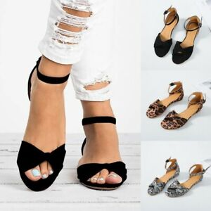 Women-Flat-Low-Heels-Sandals-Summer-Open-Toe-Ankle-Strap-Casual-Party-Shoes-Size