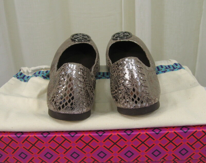 NIB TORY BURCH Heidi Leather Leather Leather Logo Ballet Flat shoes Size 7 Pewter Metallic Snake e75be5