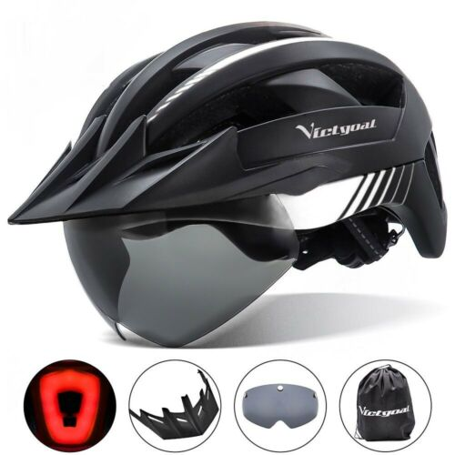 Bicycle Helmet Sun Visor Goggles USB Rechargeable Safety Cycling Mountain Road