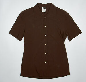 D-amp-G-Dolce-Gabbana-Shirt-S-in-Chocolate-Brown-Short-Sleeve-Stretch-Wool-Blend