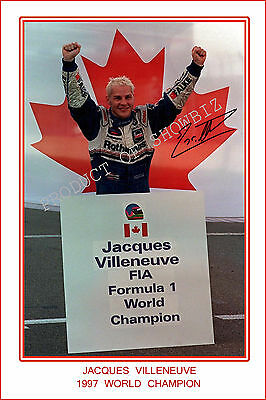 * JACQUES VILLENEUVE * SIGNED F1 CHAMPION PRINT,GREAT COLLECTABLE, DONT MISS OUT