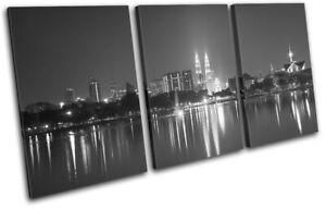Kuala-Lumpur-Asia-City-Night-Light-City-TREBLE-CANVAS-WALL-ART-Picture-Print