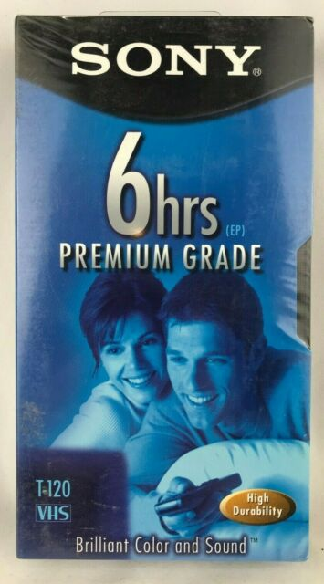 Sony VHS Blank Video Tape - Premium Grade - 6 Hours EP - T120 High Durability