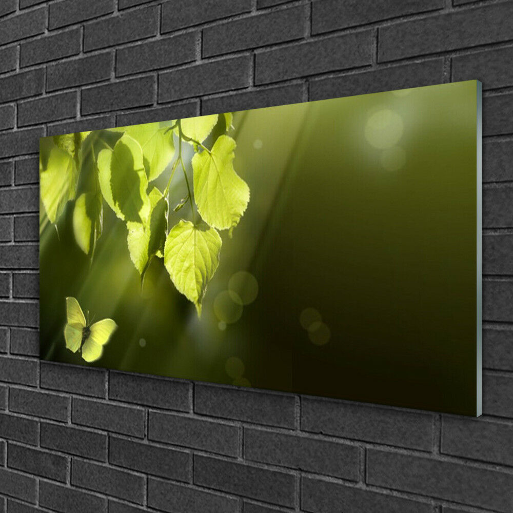 Print on Glass Wall art 100x50 Picture Image Butterfly Leaves Nature