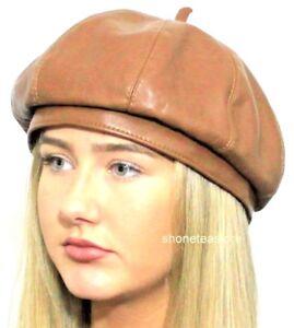 69e656ef Brown Beret Faux Leather Ladies Womens Fashion Hat #Rhianna #Gigi ...