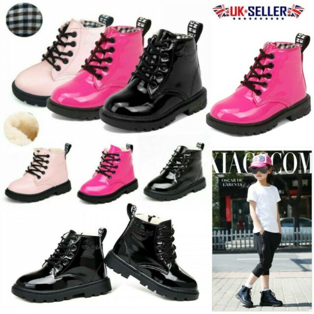 UK Kids Boys Girls Leather Lace-Up Flat Toddler Bovver Ankle Boots Martin Shoes