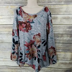 Gia-Rose-Designs-Size-L-Tunic-Top-Gray-Floral-Print-Knotted-Front-Soft-Cozy