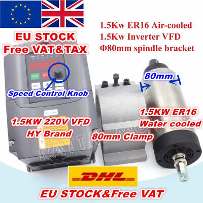 【EU】1.5KW ER16 Air Cooled CNC Spindle Motor+1.5KW 220V VFD Inverter+80mm Clamp