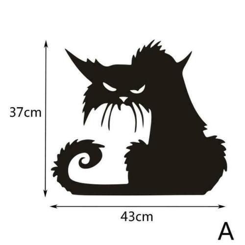 Halloween große beängstigende schwarze Katze Fenster Wand Aufkleber Aufkle G6Z0