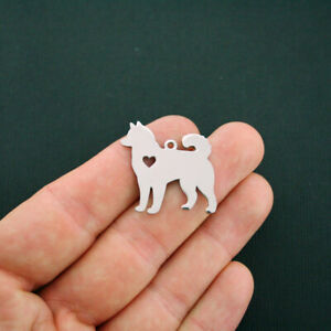 BULK 5 Husky Charms Stainless Steel Great As a Charm or For Stamping MT419