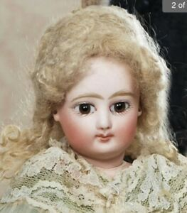 Antique-12-French-Fashion-Doll-Poupee-Peau-With-Fantastic-Gown-amp-Mohair-Wig
