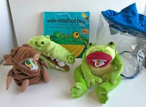 The-Wide-Mouthed-Frog-Lot-of-3-Story-Puppets-w-Pop-Up-Book-Carry-Bag-Lakeshore