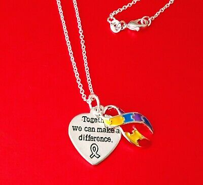 FREE POUCH BRAND NEW Autism Awareness Puzzle HEART NECKLACE Aspergers Pendant