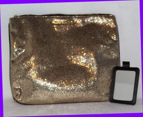 Victoria/'s Secret Blingy Shiny GOLD Colored Purse Clutch Makeup Bag w// Mirror