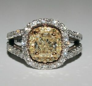 Details About 2 75 Carat Cushion Cut Gia Fancy Yellow Diamond Engagement Ring 18k White Gold