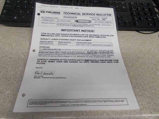 Oem Polaris Technical Service Bulletin 2005 Ranger R