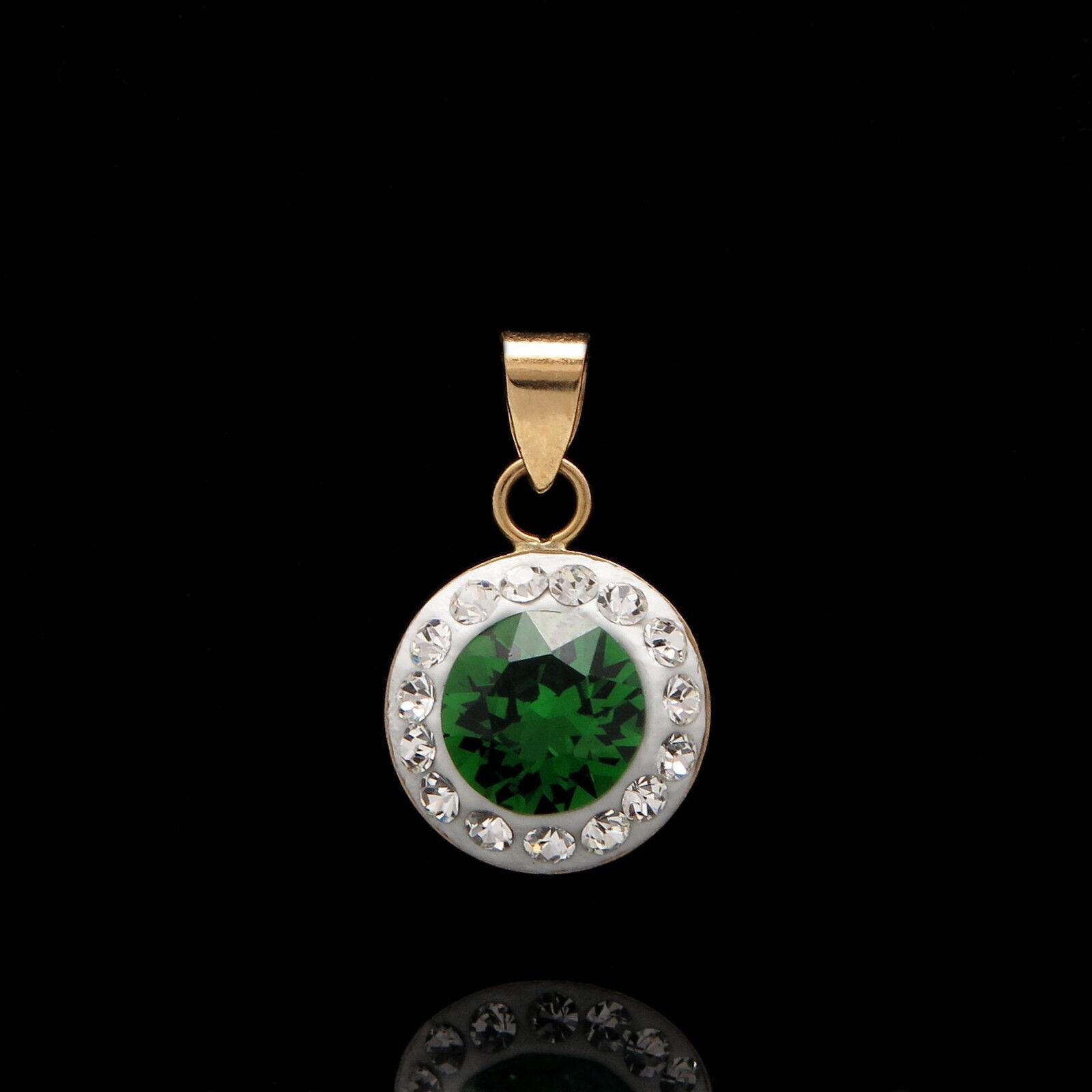 1ct Round Created Emerald & Diamond Halo Pendant 14k Yellow gold Charm for Chain