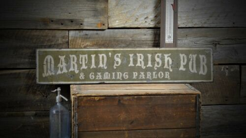 Rustic Hand Made Vintage Wooden ENS1000526 Custom Irish Pub Gaming Parlor Sign