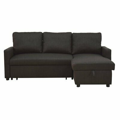ACME Hiltons Sectional Sofa with Sleeper in Charcoal Linen 840412151163   eBay