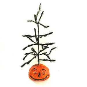 """Black Halloween Feather Tree With Pumpkin Base 14"""" Tall"""