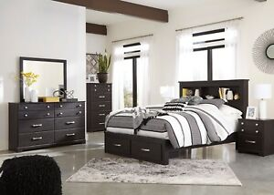 Ashley Furniture Reylow Queen 6 Piece Storage Bookcase Bedroom Set