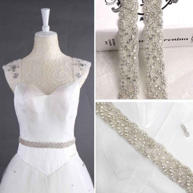 a21ae24d67 Crystal Bridal Belt Wedding Dress Sash Diamante Trim Applique Beaded  Waistband