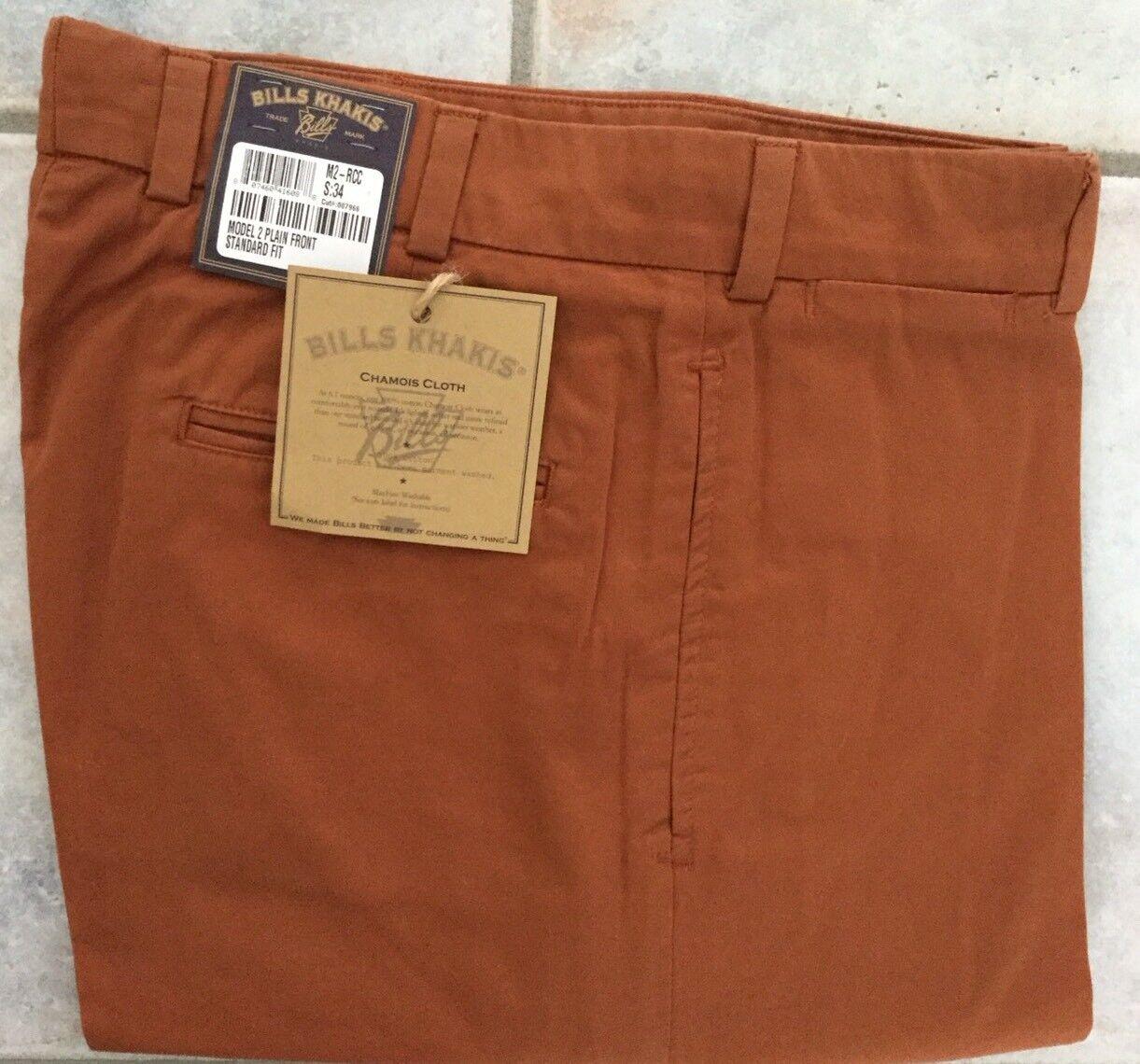 BRAND NEW-Bills khakis M2-RCC Size 34 PLAIN CHAMOIS CLOTH RUST MSRP