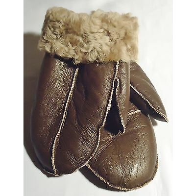 NEW! REAL SHEEPSKIN SHEARLING LEATHER MITTENS GLOVES MITTS VERY WARM SIZE XL