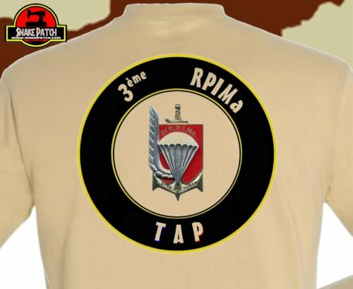 "SNAKE PATCH T shirt /"" 3ème RPIMa /"" para PARACHUTISTE tan Tshirt"