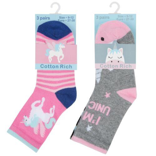 NEW Tick Tock Girls Pack of 3 Design Socks Pink Grey Unicorn Design Gift Pack